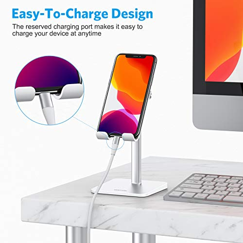 OMOTON Handy Halter, Handy Ständer Höhenverstellbar, Handy Halterung kompatibel mit iPhone/Samsung/Huawei/Google/Oneplus/Kindle (3.5-7 Zoll) für Selfie, Live-Streaming oder Filmen, Weiß