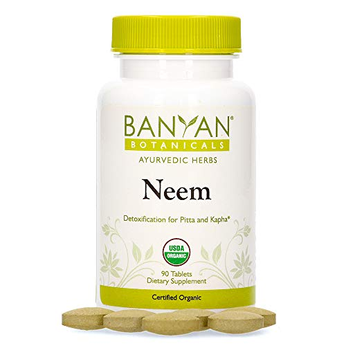 Banyan Botanicals Neem Tablets – Organic Neem Supplement – Azadirachta Indica – for Skin & Healthy Hair, Blood, Lymph, Liver & More* – 90 Tablets – Non-GMO Sustainably Sourced Vegan