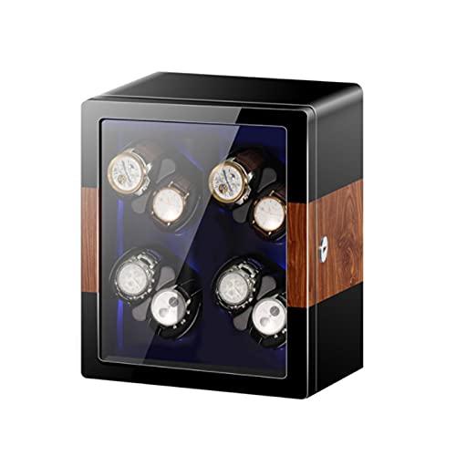 Enrollador De Reloj Automático para Relojes 2/4/6/8/12 Motor Silencioso Mabuchi Retroiluminación LED Azul Y Tapa De Apertura Función De Parada Automática Caja De Madera para Reloj,Ebony,8+0