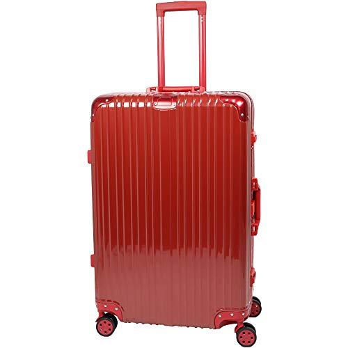 スーツケース キャリーケース キャリーバッグ アルミフレーム TSAロック 軽量 静音 ダブルキャスター 4輪タイヤ トランク 旅行かばん 旅行 出張 帰省 ビジネス 海外旅行 Lサイズ Sサイズ 【】 (L 80L, レッド 赤)