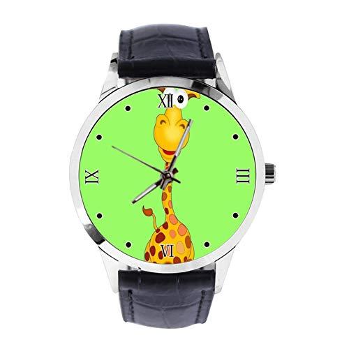 Reloj de pulsera analógico de cuarzo con correa de piel, diseño de jirafa