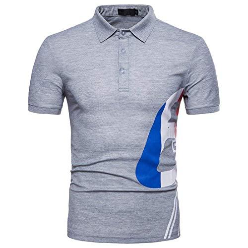 Polohemd heren zomer mode polo digitale stempel korte mouwen modern casual shirt tops basic vrije tijd revers sport poloshirt T-shirt