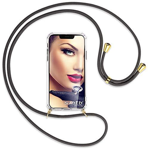 mtb more energy® Collar Smartphone para Nokia 2.2 (5.71'') - Gris Oscuro/Oro - Funda Protectora ponible - Carcasa Anti Shock con Correa para Hombro