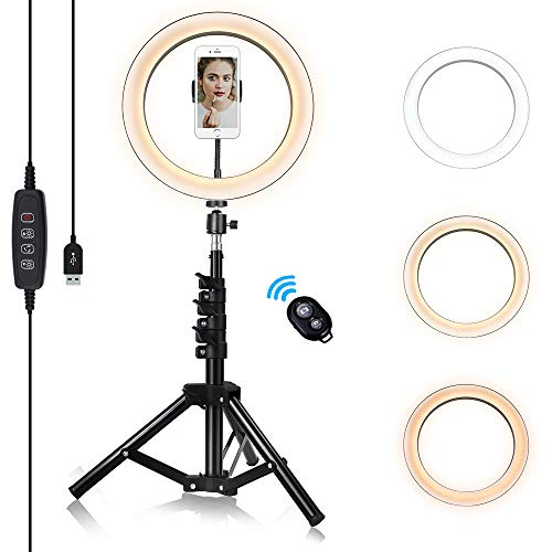 10'' Ring Light with Tripod Standand & Phone Holder, Dimmable LED Camera Lights for Recording Videos...