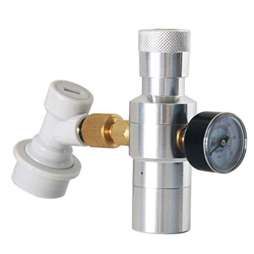Cargador de barril de CO2 regulador de CO2 – marca Pera incluye regulador de barriles de 0-30 PSI, adaptador de rosca de 3/8 pulgadas, desconexión de gas de bloqueo de bola para cerveza en el hogar