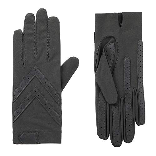 isotoner Women's Spandex Shortie Gloves with Leather Palm Strips, Charcoal, Large / XLarge