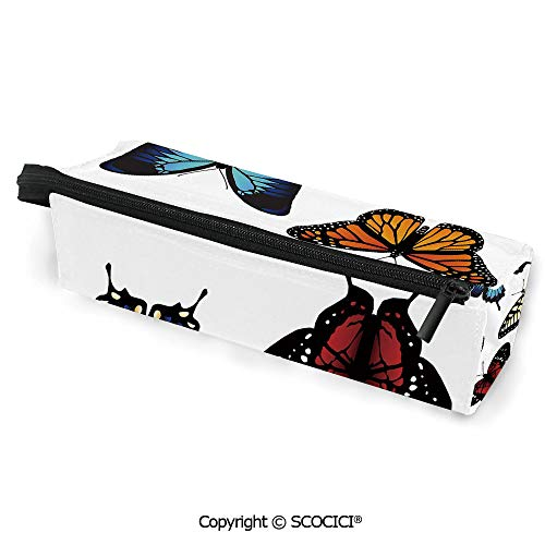 Printed Durable Polyester Pencil Bag Case Sunglasses Bag Five Different Butterflies Colorful Monarch Lady Insect Wings Spring Decorative Stationery Pouch with Zipper for Girls Students