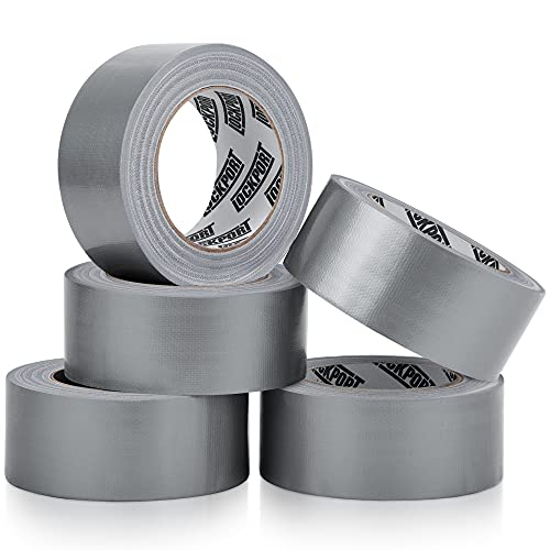 Heavy Duty Silver Duct Tape - 5 Roll Multi Pack - 30 Yards x 2 Inch - Strong, Flexible, No Residue, All-Weather and Tear by Hand - Bulk Value for Do-It-Yourself Repairs, Industrial, Professional Use