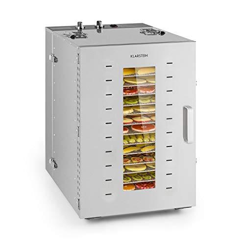 KLARSTEIN Master Jerky - Essiccatore, Temperatura Regolabile 40-90 °C, Timer 15h, Controllo DigiSet, Alloggiamento in Acciaio Inox, 4-20 kg di Frutta, 1500W, 16 Inserti, Argento