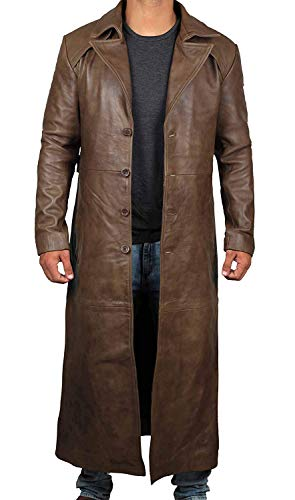 Blingsoul Brown Winter Real Leather Overcoat   [1500275] Jackson Brown Long Coat Jacket, XL