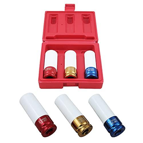 Karpal Juego de llaves de vaso con mangas protectoras, 3 piezas de llantas de aluminio tuercas de llave de impacto, 17/19/21 mm