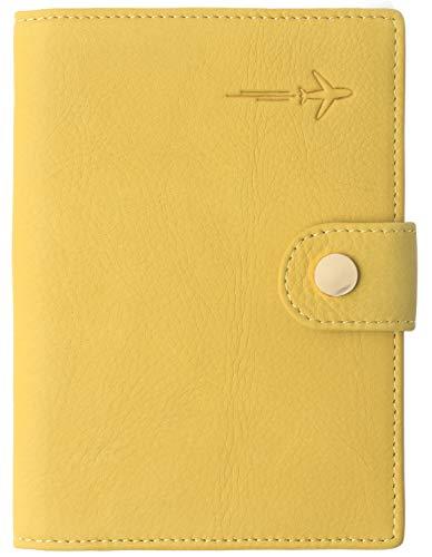 Borgasets Leather Rfid Blocking Travel Passport Holder Cover Slim ID Card Case Wallet Nubuck Yollow