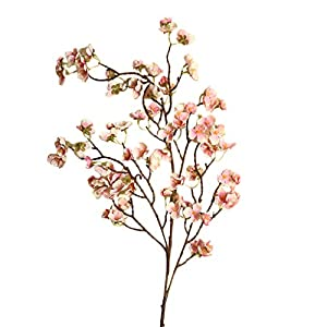 Artificial Cherry Blossom Branches Fake Flowers Silk Peach Flowers Stem Fake Peach Cherry Flower Arrangement for Home Office Party Wedding Decoration (D)