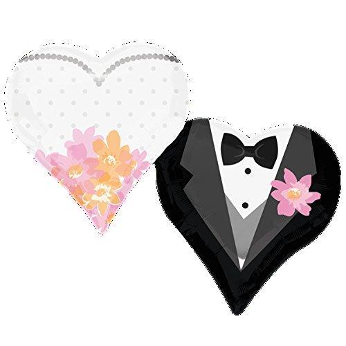 paduTec Ballon XXL Folienballon Luftballon - Hochzeitspaar Kleid Anzug - Hochzeit Trauung Standesamt Deko - geeignet zur befüllung mit Luft oder Helium Gas