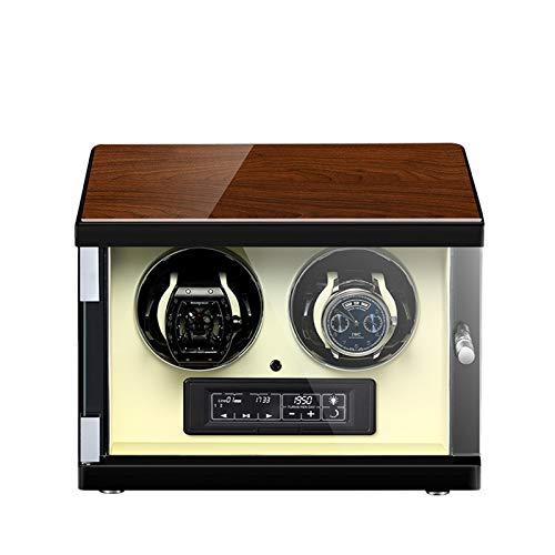zyy Cajas Giratorias para Relojes Caja Relojes Iluminación LED con Mando A Distancia Automatico Caja de Reloj Automático A Prueba de Polvo Vitrina Beige (Size : 2 epitope)