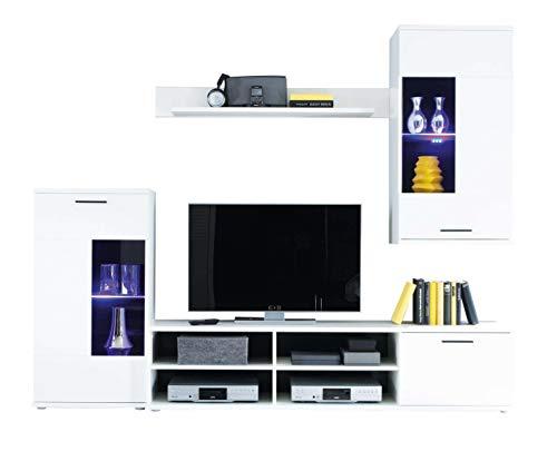 AVANTI TRENDSTORE - Kalli - Parete da Soggiorno con Illuminazione LED Compresa, Disponibile in 2 Diverse colorazioni. Dimensioni: Lap 230x180x40 cm (Bianco)