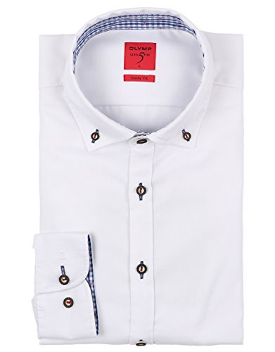 OLYMP Hemd Trachtenhemd Level 5 Body Fit Weiss, Größe XXL