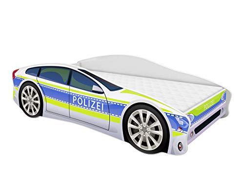 ACMA Kinderbett Auto-Bett Polizei mit Rausfallschutz, Lattenrost und Matratze (Polizei 1, 160x80 cm)