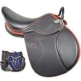 TNNT Sillín de caballo Treeless para montar de caballo, juego completo de sillín integrado, sillín Endurance, accesorios de equitación, Rit Cross Country Comfortable-suave