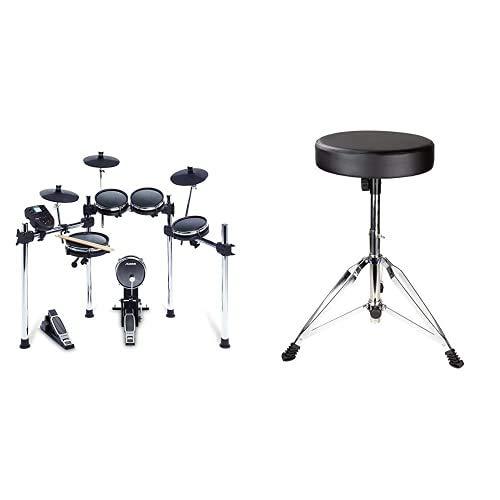 Alesis Surge Mesh KitBatería Electrónica de 8 Piezas con Cabezales de Malla + RockJam Taburete de tambor ajustable, Trono de tambor