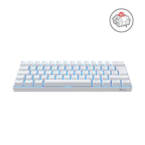 RK ROYAL KLUDGE RK61-DE QWERTZ Kabelgebundene / Bluetooth 60% Mechanische Tastatur, PBT Tastenkappen, Rote Schalter, für IOS, Android, Windows und Mac, Weiß