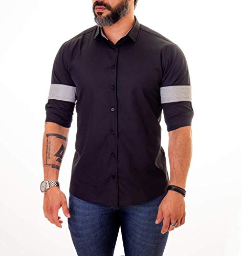 Camisa Social Masculina Slim Fit Infinity Cinza (M)