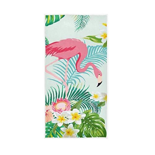 NaiiaN Für Badezimmer Home Hotel Fitnessraum Whirlpool Handtücher Hand Hochsaugfähig Gast Mehrzweck Weiche Große Tropische Baum Blume Flamingos 30x15 Zoll Dekorative Schäferhund