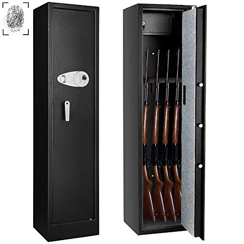 SECUSTAR Steel Large Biometric Rifle Safe Cabinet, New and Improved Fingerprint Long Gun Safe, Inner Compartment Small Key Lockable Box for Handguns Ammo…