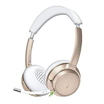 Avantree AH6B Bluetooth 5.0 Headset with Mic 22+Hr Talk Time Soft Padding Lightweight Wireless On-Ear Headphone with Microphone for PC Computer Laptop Skype Work from Home Champaign Gold