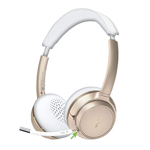 Avantree AH6B Bluetooth 5.0 Headset mit Abnehmbaren Mikrofon für PC Computer Laptop Tablets, Stereo Hi-Fi Kabelloses Kopfhörer, 22 Stunden für Home-Office, Skype, Champagner Gold Pink Rose Weiß