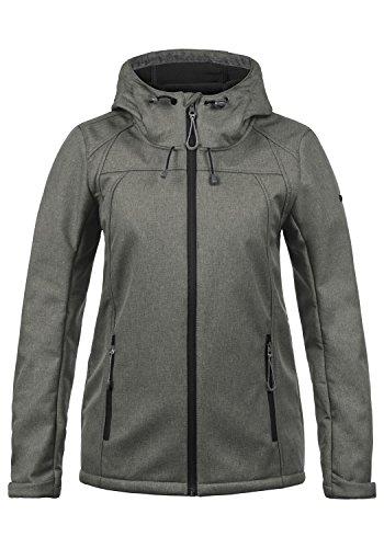 DESIRES Soley Damen Softshell Jacke Funktionsjacke Übergangsjacke mit Kapuze, Größe:M, Farbe:Grey Melange (8236)