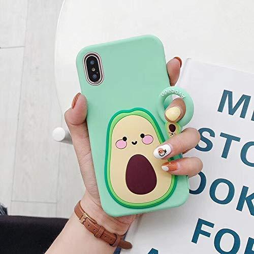 "SevenPanda Avocado Hülle für iPhone 6, iPhone 6S 4.7"" Super Cute Karikatur Buntes Design, Weiche Stoßstange Hülle Cool Fun Schutzhülle mit Lanyard (Hellgrün)"