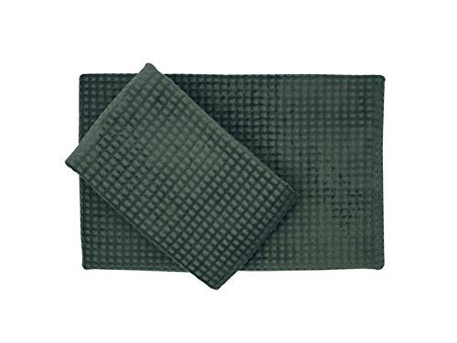 Nettuno Bologna Juego de toalla + toalla de invitados de puro algodón con acabado de nido de abeja, terciopelo verde militar