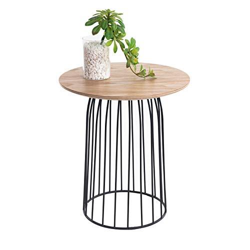 CARO-Möbel Couchtisch Salamanca Beistelltisch Wohnzimmertisch rund Retro, mit Metallkorb, in Natur