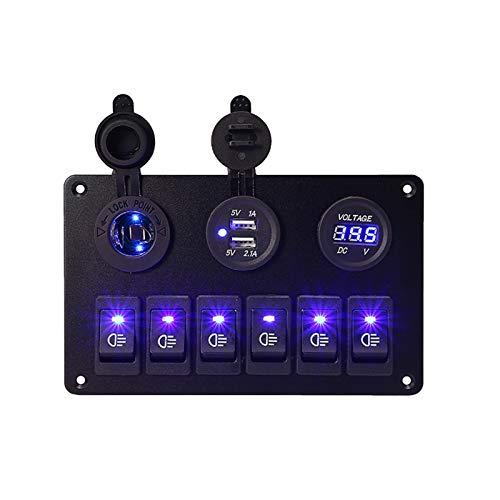 MMYX 12V 6 pandillas Coche Azul LED Circuito Panel de Interruptor de rockero Doble USB Cargador Marino Barco basculante Interruptor de Control de Control de Control
