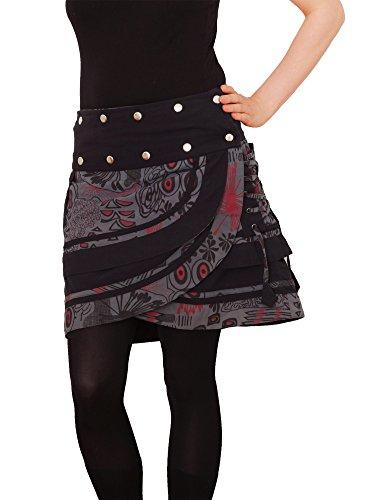 PUREWONDER Damen Wickelrock Baumwolle Rock mit Tasche sk196 Grau Einheitsgröße verstellbar