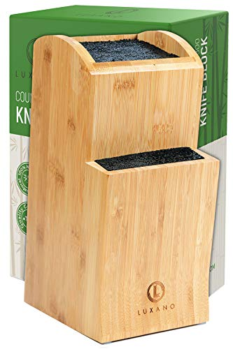 Universal Knife Block Without Knives  Kitchen Knife Holder for Kitchen Counter  Extra Large Bamboo Knife Block Holder