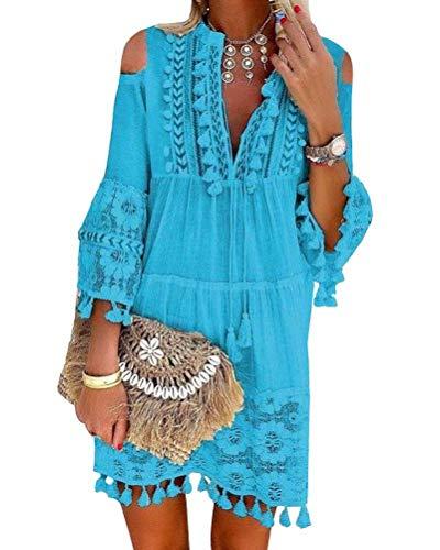 Minetom Damen Kleider Strand Elegant Casual A-Linie Langarm Sommerkleider Boho V-Ausschnitt Quaste Spitze Schulterfrei Tunika Mini Kleider Große Größe B Blau 46