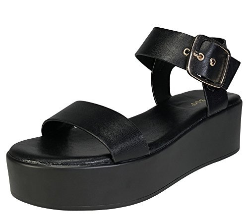 BAMBOO Women's Single Band Platform Footbed Sandal with Quarter Strap, Black PU, 7.5 B (M) US