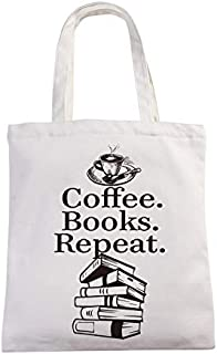 chillake Coffee Books Repeat Market Grocery Tote Bag Book Lover Coffee Lover Gift