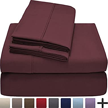 Premium 1800 Ultra-Soft Microfiber Collection Sheet Set - Double Brushed - Hypoallergenic - Wrinkle Resistant - Deep Pocket (Queen, Burgundy)