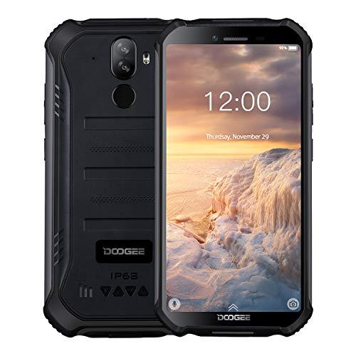 """DOOGEE S40 Android 9.0 Outdoor Smartphone ohne Vertrag 3GB+32GB, Dual SIM 4G Robustes Handy IP68/IP69K Wasserdicht, 5,5\"""" 4650mAh Quad core, 8MP+5MP Kamera, NFC Fingerabdruck Gesichtserkennung, Schwarz"""
