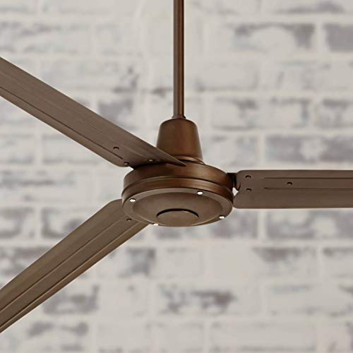 """72"""" Turbina Modern Industrial Farmhouse 3 Blade Large Outdoor Ceiling Fan with Remote Oil Rubbed Bronze Brown Damp Rated for Patio Exterior House Porch Gazebo Garage Barn Roof - Casa Vieja"""