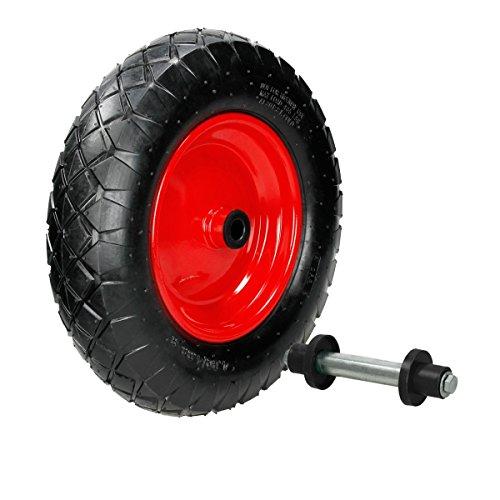 ECD Germany Schubkarrenrad luftbereift mit Achse - 4.80/4.00-8 - Ø 390mm - 95mm Breite - 200kg Tragkraft - Reifen mit Stahlfelge - Luftrad Ersatzrad Schubkarren Rad