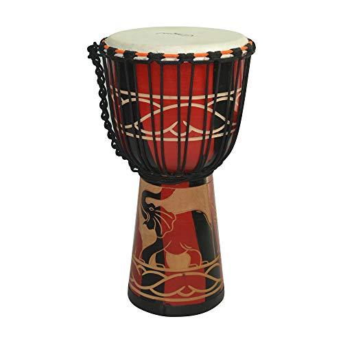 Muslady Camwood 8 pulgadas Tambor Africano de Madera Djembe Bongo Congo Tambor de Mano Percusión Instrumento Musical Material de Caoba con Patrón rojo Elegante