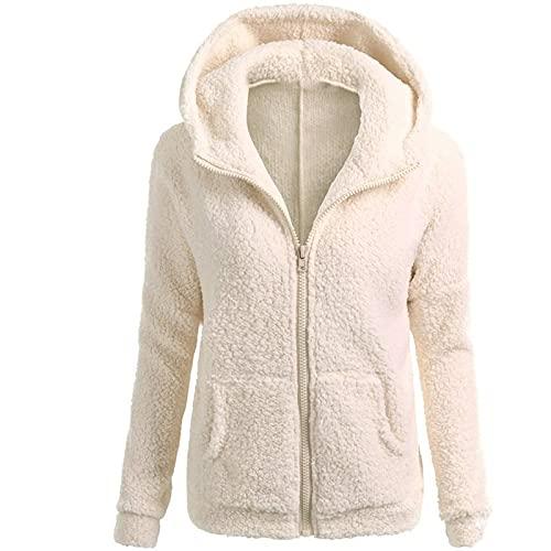 Sudadera con capucha para mujer Fluffy Fuzzy, para otoño e invierno, forro polar, con cremallera, de entretiempo, de manga larga, monocolor, informal, Color beige., S