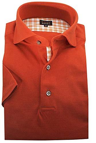 [スタイルワークス] オリジナル 半袖 ポロシャツ カッタウェイワイドカラー シルケットCOOLMAXサーフニット・ウーリー糸 オレンジ メンズ S