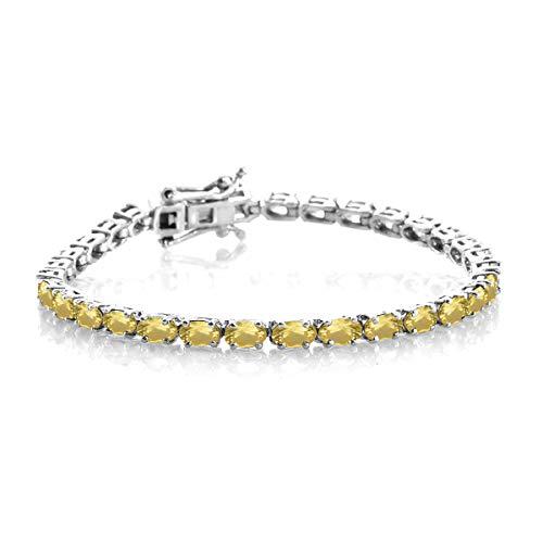 3.00 Ctw Multi Choice Your Gemstone Pulsera brillante de tenis de plata de ley 925 chapada en platino para mujer (20 # cuarzo limón)