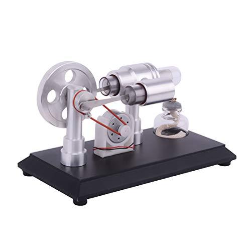 YAHAMA Stirlingmotor Bausatz Doppelzylinder Micro DIY Stirlingmotor mit Generator Externer Verbrennungsmotor Stirling Engine