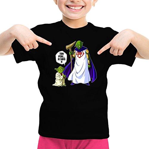 T-Shirt Enfant Fille Noir Dragon Ball Z - Star Wars parodique Yoda et Dieu : Ton père. Je suis !! (Parodie Dragon Ball Z - Star Wars)